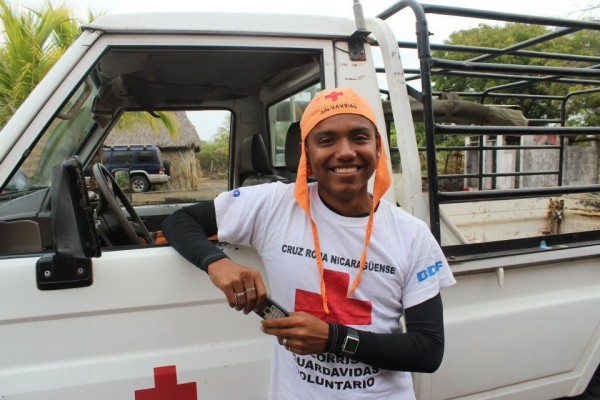 Miguel volunteering for the Red Cross of Nicaragua.