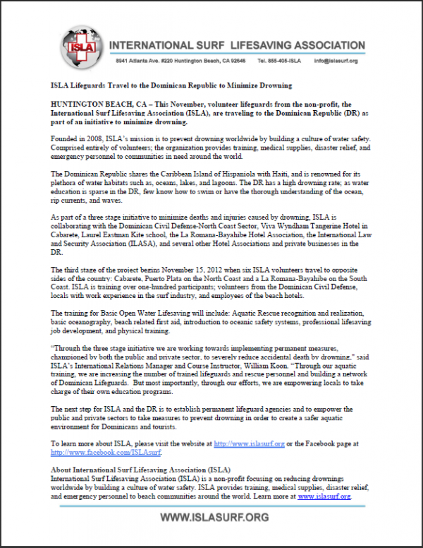 ISLA Press Release Dominican Republic November 2012