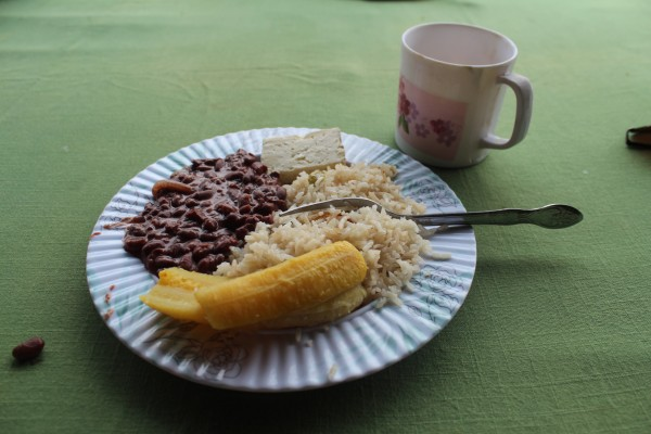 Typical Nicaraguan meal of Gallo Pinto, Fish and Plantains.