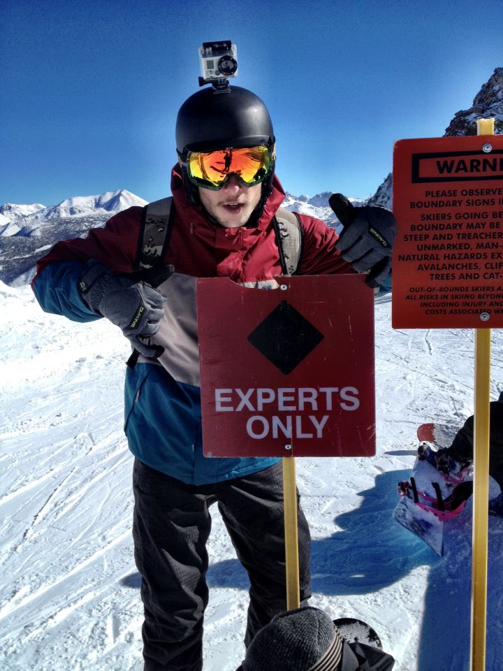 Travis snowboarding at Mammoth