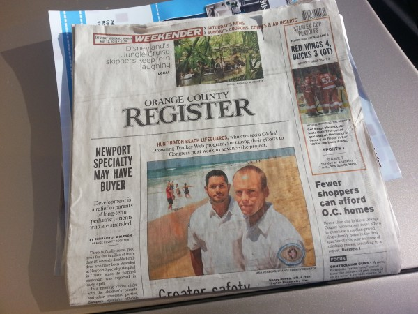 Front page of OC Register.